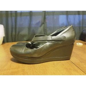 B24 TSUBO ASMIK Black Leather Wedge Shoes sz 9.5